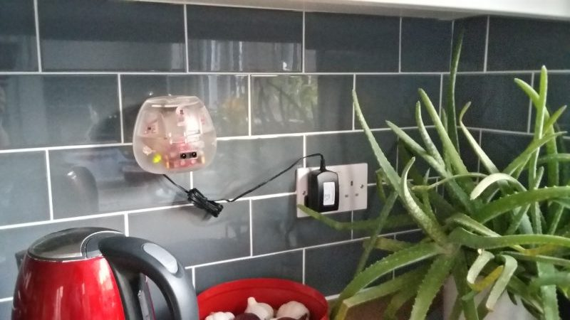 Typical fitting of sensor box onto kitchen walls in volunteer households
